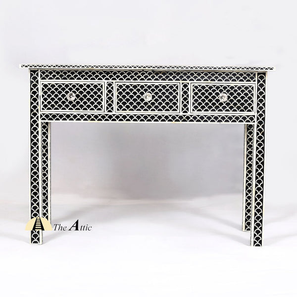 Bone Inlay Console with Drawers, Black Fishscale - theattic-dubai.com