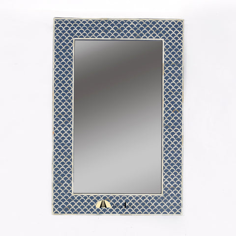 Blue Bone Inlay Wall Mirror Fishscale Design - The Attic Dubai