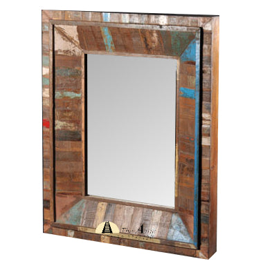 Colorful Reclaimed Wood Framed Mirror