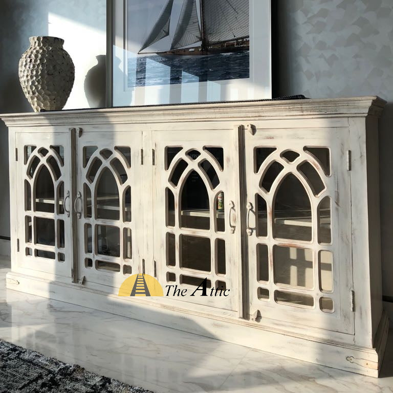 Arched 4-Door Glass Pane Buffet Sideboard