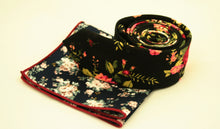 Dark Blue Floral Pocket Square