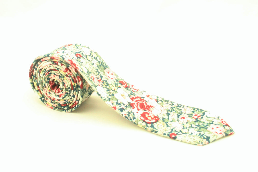 Green and Red Floral Tie