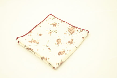 Cream Floral Pocket Square