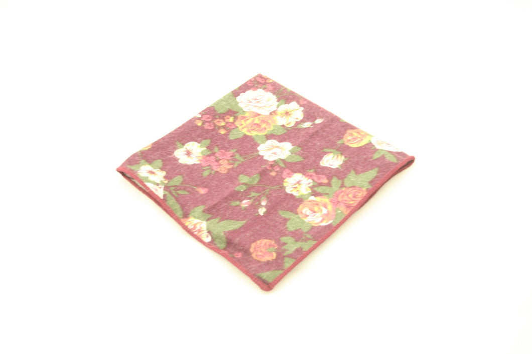 Burgandy Floral Pocket Square