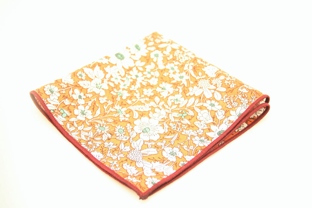 The Orange Floral Pocket Square