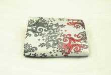 Silver and Red Pocket Square