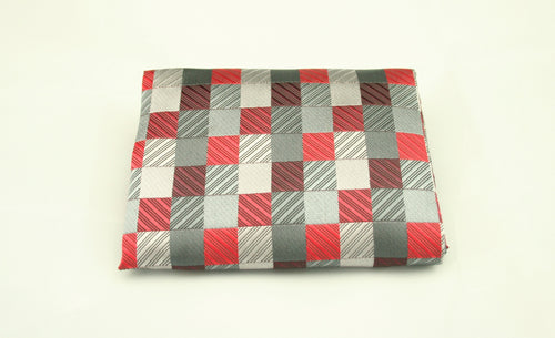 Red and Grey Pocket Square