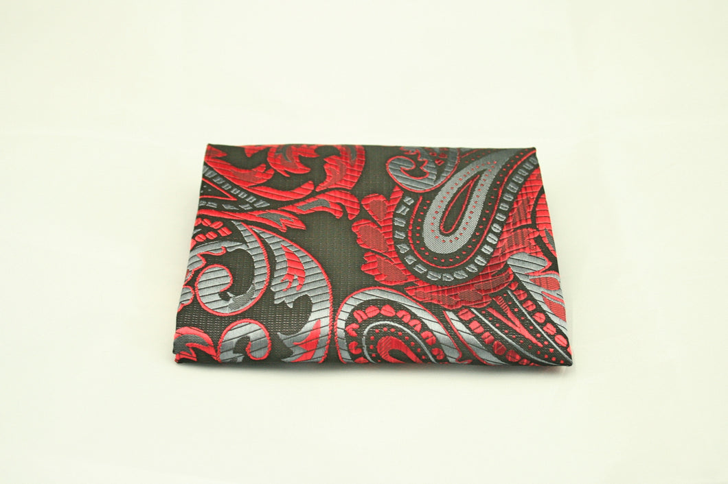 Red and Silver Pocket Square