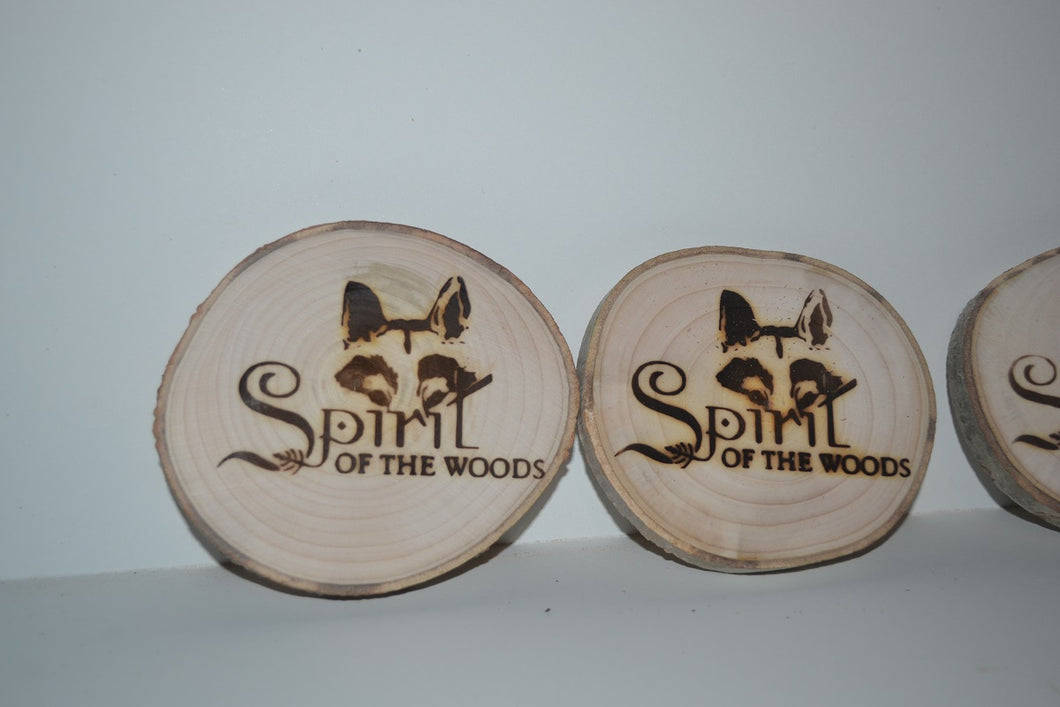 Wood Slice Magnets Set of 4 With Wood Burned Spirit of the Woods Logo