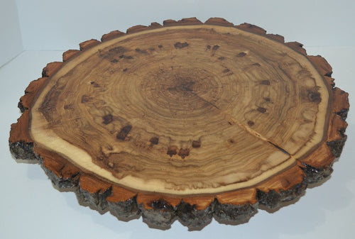Rustic Lazy Susan Hand Crafted with Log Slices with Bark Turn Table
