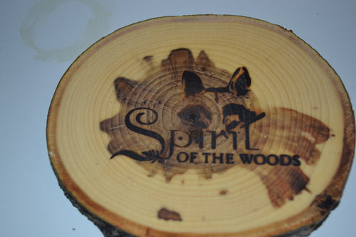 Balm of Gilead Log Coasters Set of Six With Wood Burned Spirit of the Woods Logo