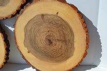 "Balm of Gilead Wood Slices 9"" to 11"" diameter x 1"" thick with Food Grade Oil Finish. Plate Chargers"