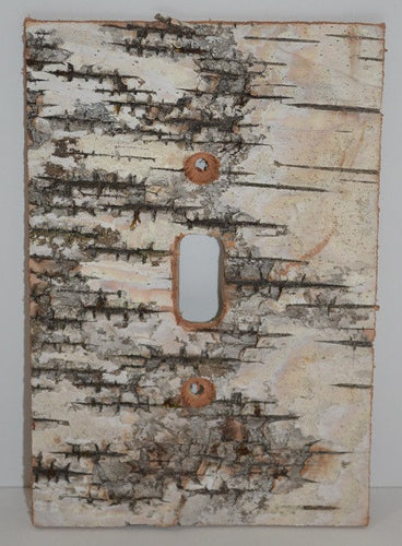 Decorative Wall Switch Plates, handcrafted with Birch Bark, & Log Slices