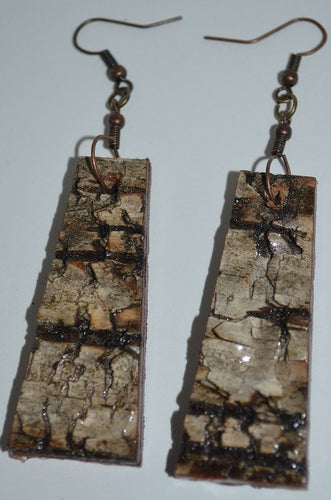 Birch Bark Earrings Long
