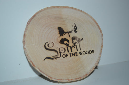 Birch Log Coasters set of six With Wood Burned Spirit of the Woods Logo