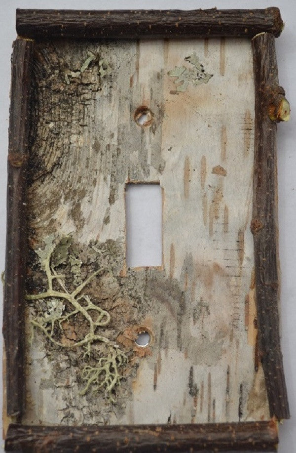 Birch Bark Switch Plate, Receptacle And Rocker Plate | Spirit Of The Woods  | Rustic Furniture U0026 Decor