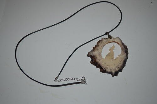 Coyote Howling Moose Antler Necklace-Pendant  CN-1