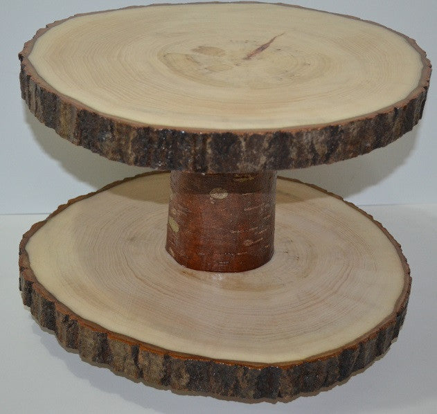 Lazy Susan Double Tier Log Slices 11