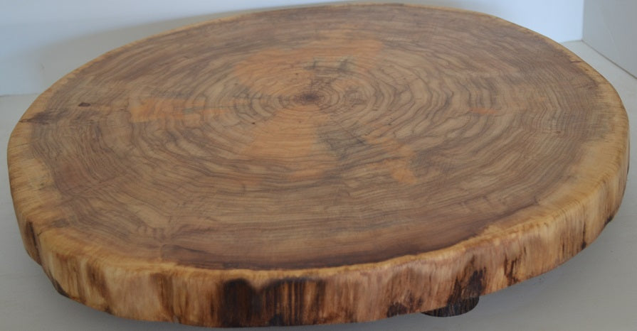 Rustic Log Slice Cutting Board, Cake Stand, Serving Platter or Center Piece Live Edge No Bark