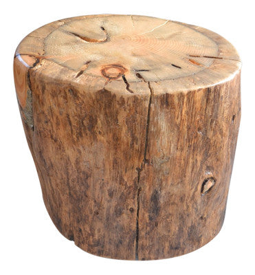 Reclaimed Log Stump End Table-Side Table