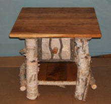 Birch Log End Table with drawer