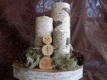Christmas Birch Log Snowman  TeaLight CenterPiece<p> WHOLESALE AVAILABLE