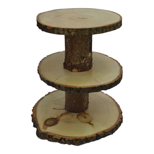 Log Round Tree Slice Cup Cake Stand