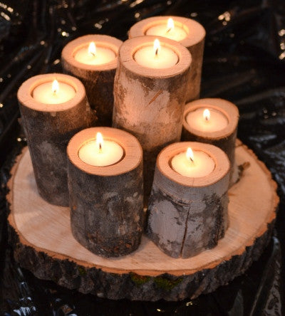 Maple Log Cluster-7-tealight-set