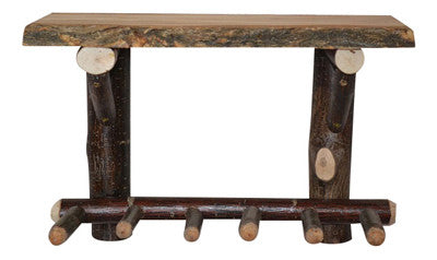 Moose Wood Log Shelf with Peg Rack