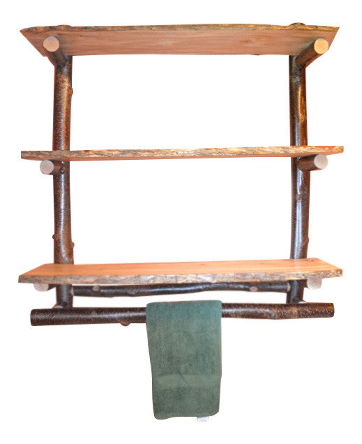 Rustic Red Birch Log Three Tier Wall Shelf