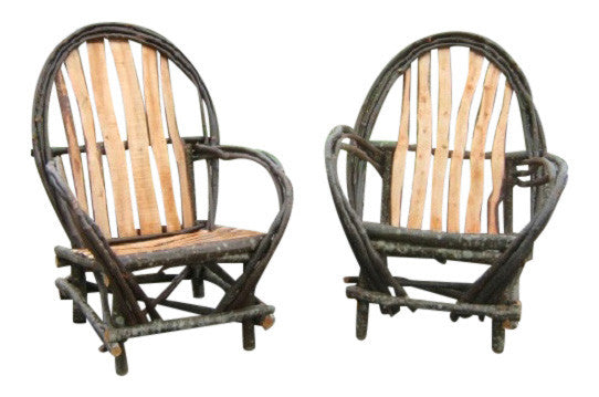 Rustic Twig Arm Chairs  Set of Two