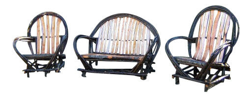 Rustic Twig Arm Chairs & Settee set of Three