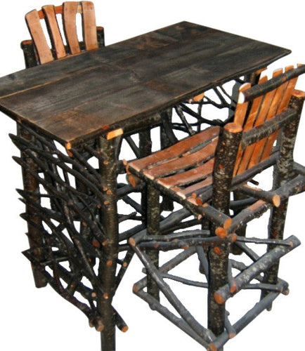 Rustic Log & Twig Bistro Table & Stool Set