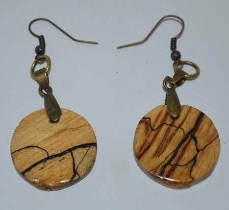 Spalted Maple Dangling Earrings-Round