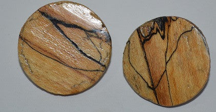 Spalted Maple Post-Stud Earrings-Round