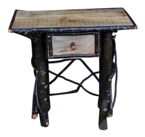 Log U0026 Twig End Table/Night Stand With Birch Bark Drawer