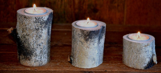 Three Piece Birch Log Candle & Tea Light Holder Set  4