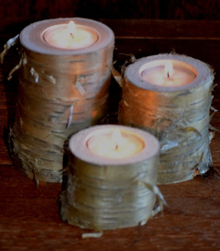 Three Piece Yellow Birch Log Candle & Tea Light Holder Set  4