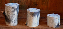 "Three Piece Birch Log Candle & Tea Light Holder Set  8"" -  6"" -  4"""