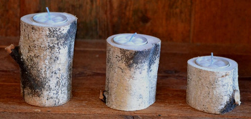 Three Piece Birch Log Candle & Tea Light Holder Set  8