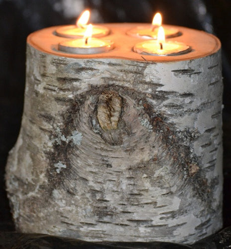 Birch Log Tea Light Candle holder-<p> large with 4 Tea lights