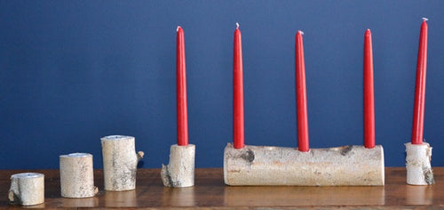 Birch Log Yule-Candle and Tea Light Set <p> 6 piece Birch Log Candle Set