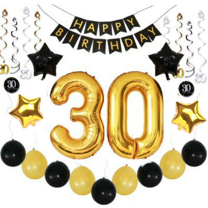 30th BIRTHDAY PARTY DECORATIONS KIT for Him Her BIRTHDAY BANNER + BALLOONS + SPARKLING HANGING SWIRLS - PREMIUM Complete 36 Piece Bundle of Party Supplies