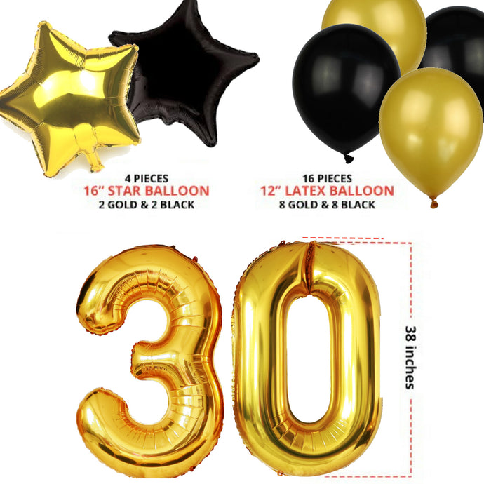 30th BIRTHDAY PARTY DECORATIONS KIT For Him Her BANNER BALLOONS SPARKLING HANGING SWIRLS