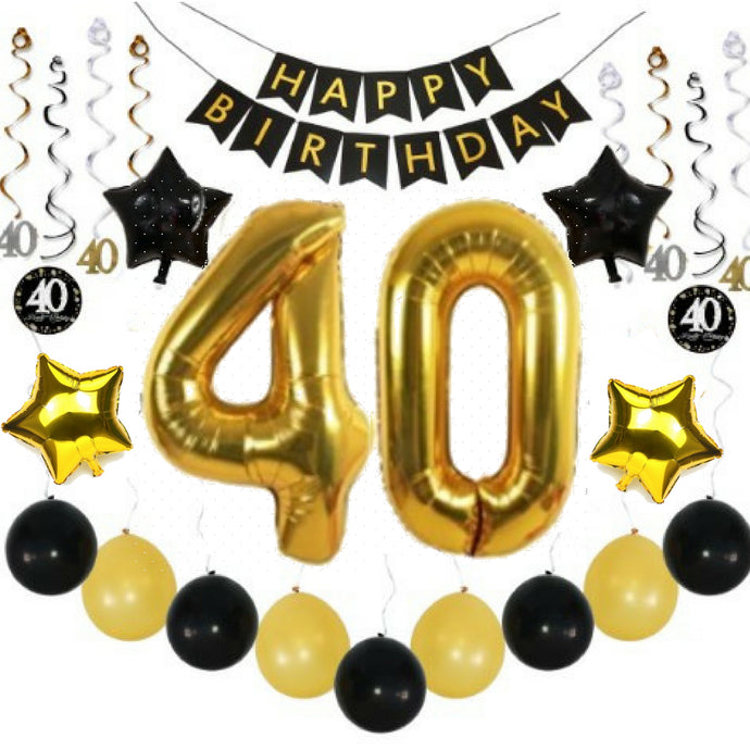 40th BIRTHDAY PARTY BALLOON DECORATIONS BLACK GOLD With HAPPY BANNER SPARKLING HANGING