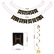 50th BIRTHDAY PARTY BALLOON DECORATIONS: GIANT 36 Piece Set, BLACK & GOLD w/HAPPY BIRTHDAY BANNER + BALLOONS + SPARKLING HANGING SWIRLS - PREMIUM Bundle of Party Supplies