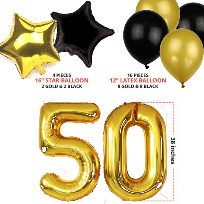 50th BIRTHDAY PARTY BALLOON DECORATIONS GIANT 36 Piece Set BLACK GOLD W