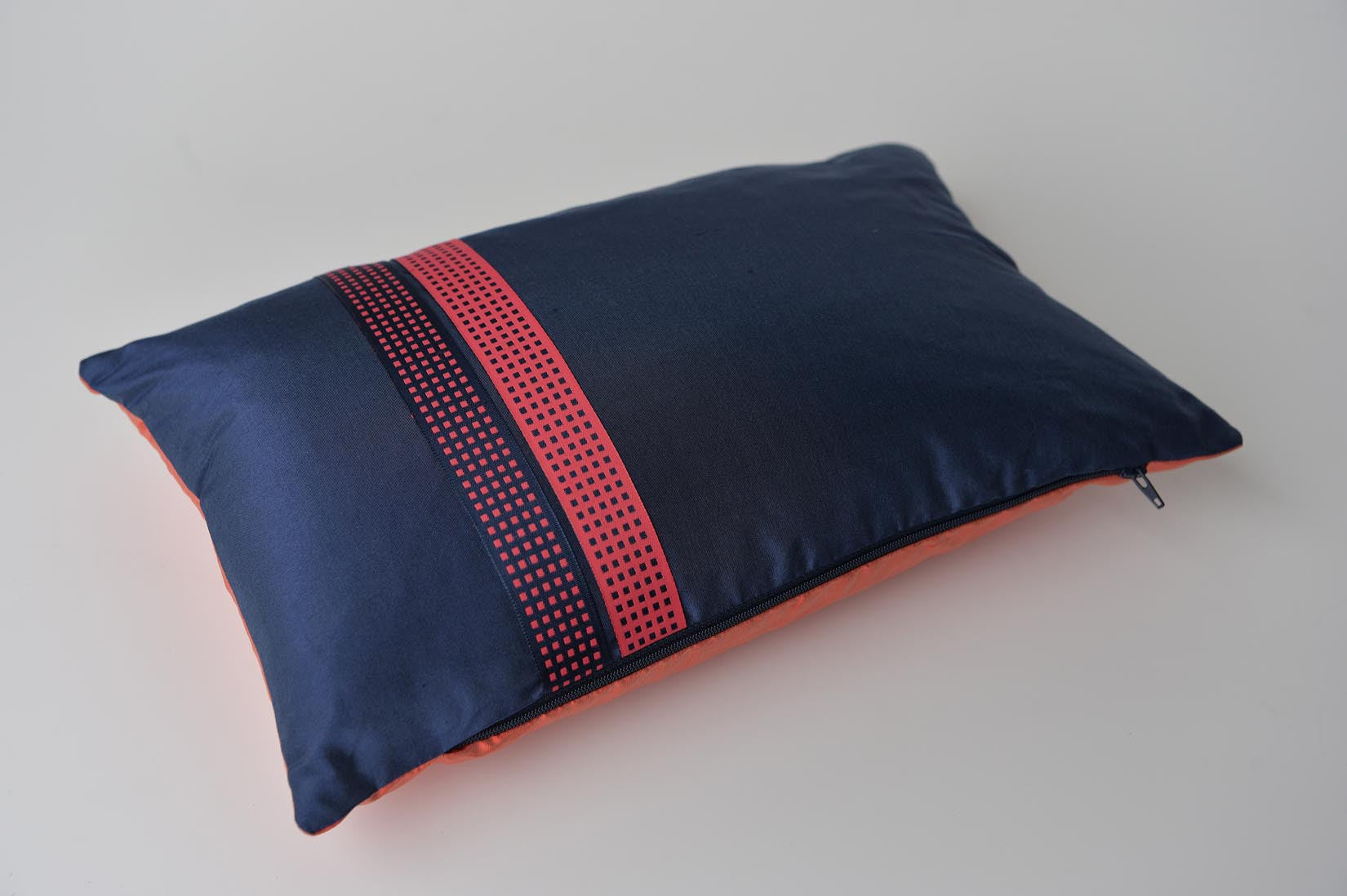 """Recto-verso"" Wilhelm blue silk cushion - MyBilletDoux.com"