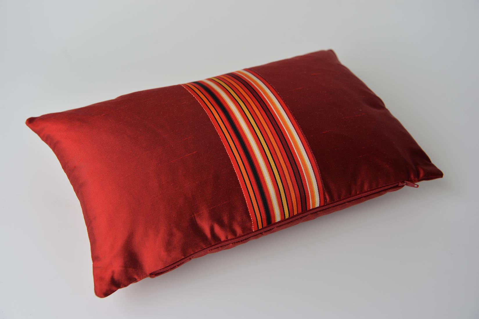 """Rayé"" Burgundy red silk cushion - MyBilletDoux.com"