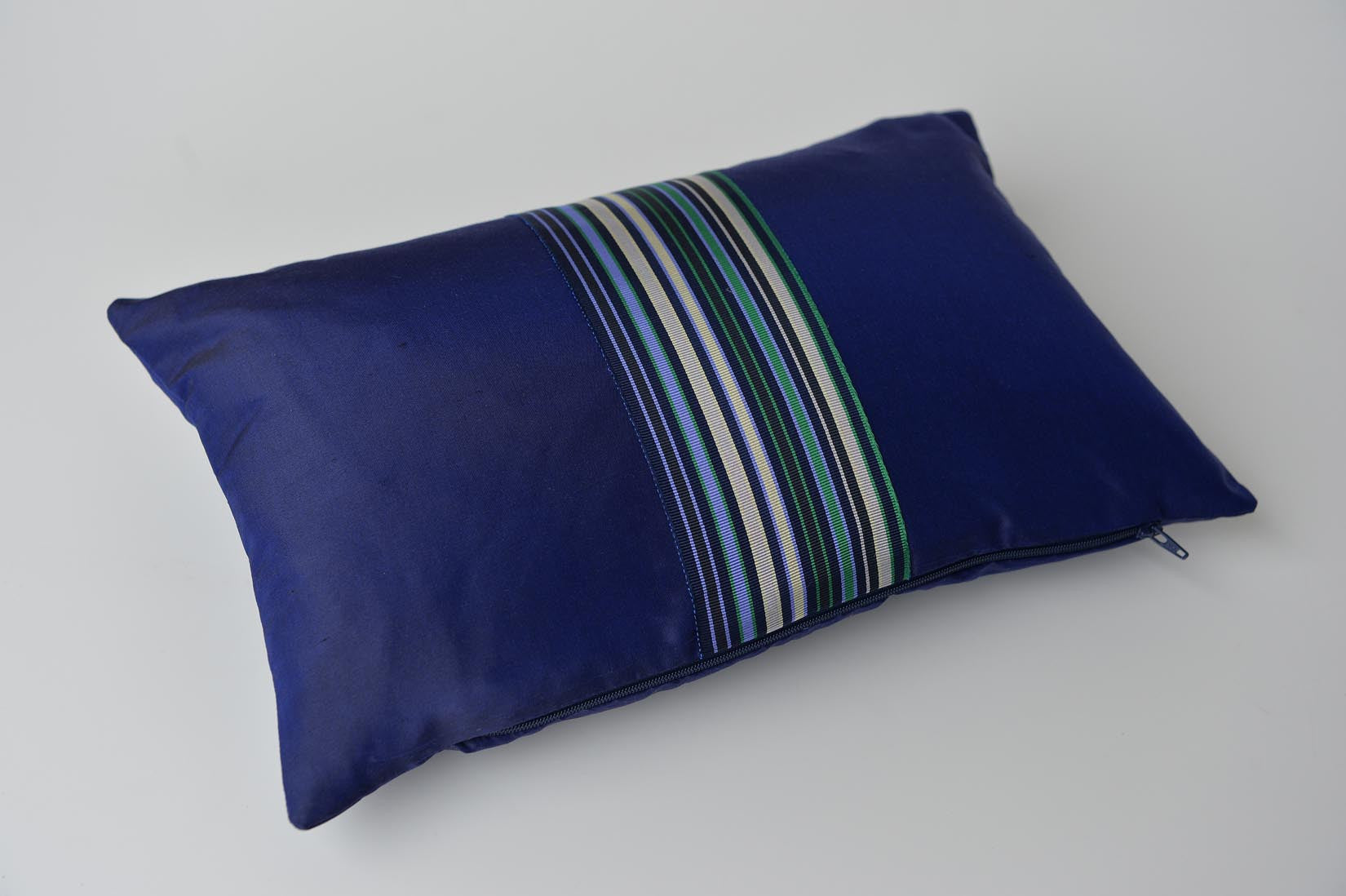 """Rayé"" Navy blue silk cushion - MyBilletDoux.com"